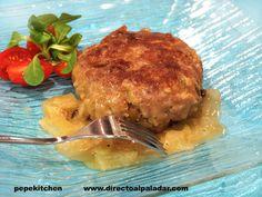 Hamburguesas de ternera con aceitunas y salsa de cebolla Carne Picada, Pork, Beef, Chicken, Cooking, Onion Dip, Burger Recipes, Baking, Kale Stir Fry