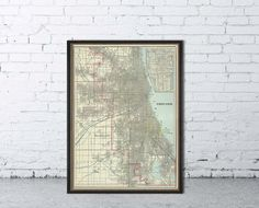 "Map of Chicago - Antique Chicago  city map print - 21 x 29 ""  - Large format"
