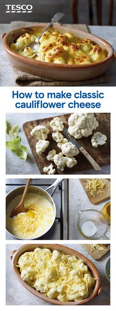 easy comfort food Oozy, creamy and delicious, you cant beat homemade cauliflower cheese as the ultimate side or veggie main. Learn how to make the perfect cauliflower cheese with this Califlower And Cheese, Cauliflower With Cheese Sauce, Cauliflower Cheese Casserole, Cauliflower Recipes, Vegetarian Recipes, Cooking Recipes, Healthy Recipes, Cheese Recipes, How To Make Cauliflower