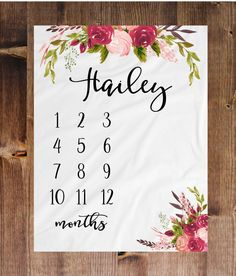 Milestone Blanket Month Blanket Baby Baby Growth Tracker Soft Fleece Blanket Baby Shower Newborn Gift Floral Blanket Watch Me Grow Tribal by DashingFoxCo on Etsy