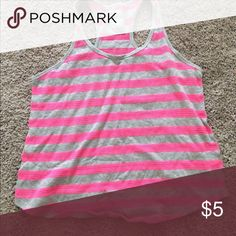 Never worn bathing suit tank top cover. Never worn bathing suit tank top cover.  Mesh detail in pink stripes. Swim Coverups