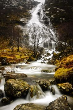 Steall Waterfalls in the Highlands of Scotland