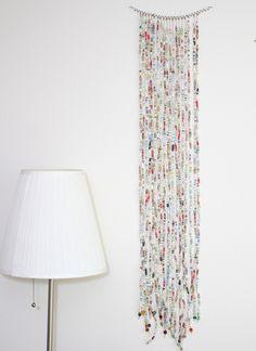 Diy magazine bead curtain art piece bead curtains a for Paper curtains diy