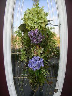 Spring Wreath Summer Wreath Teardrop Twig Door Swag Vertical Decor...Now and Forever via Etsy