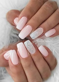 Best Acrylic Nails, Acrylic Nail Designs, Nail Art Designs, Wedding Acrylic Nails, Light Pink Nail Designs, Nail Designs For Spring, Nail Designs With Glitter, Light Pink Acrylic Nails, Natural Nail Designs