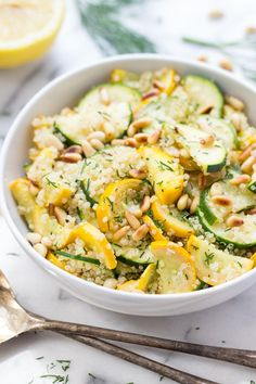 Summer Squash + Zucchini Quinoa Salad with Toasted Pine Nuts. Summer Squash + Zucchini Quinoa Salad with Toasted Pine Nuts Recipes This recipe requires just 10 ingredients and comes together in less&n. Zucchini Quinoa, Quinoa Salad, Sauteed Zucchini, Zucchini Noodles, Healthy Salads, Healthy Eating, Healthy Breakfasts, Healthy Dinners, Clean Eating Recipes