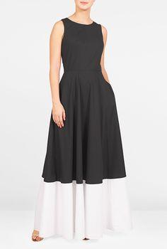 I <3 this Contrast hem poplin maxi dress from eShakti