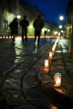 """The river of souls"" - an event in Kaunas, Lithuania, when the main streets in the centre and oldtown were lit by the candles, 2010 November 1st."