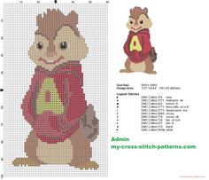 Alvin from Alvin and the Chipmunks cross stitch pattern - free cross stitch patterns simple unique alphabets baby Cross Stitch For Kids, Cute Cross Stitch, Counted Cross Stitch Patterns, Cross Stitch Designs, Cross Stitch Embroidery, Embroidery Patterns, Stitch Character, Kid Character, Alvin Und Die Chipmunks