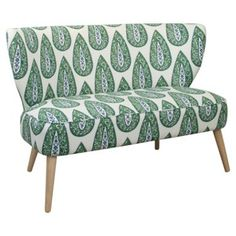 """Check out this item at One Kings Lane! Maven 51"""" Cotton Settee, Green/Blue"""