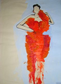 textile and acryl on paper made by Yvette Tol