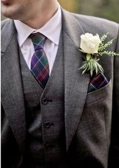 Men's gray wedding suit with vest.