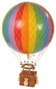 Jules Verne Balloon, Rainbow  nursery decor