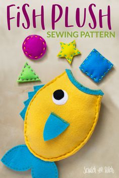 Learn to sew a stuffed fish with a free sewing pattern and picture tutorial. Animal Sewing Patterns, Fish Patterns, Sewing Patterns Free, Free Sewing, Diy Crafts For Tweens, Craft Projects For Kids, Felt Projects, Kids Crafts, Project Ideas