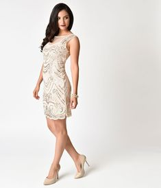 87f574adc23 1920s Style Light Beige   Gold Beaded Illusion Cocktail Dress