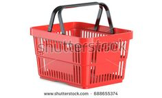 An empty red plastic shopping basket, 3d llustration, 3D render, isolated on white background