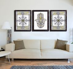 Hamsa Hand & Mandala PRINT - 3 Piece wall Art decor - Golden Silver Drawings - Large Print - Colored pencils art - Wall decoration by DHANAdesign on Etsy
