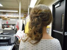 Great long hair updo for prom.  She has fine to medium hair. No extentions were added.  Prom. Bridal. Wedding.