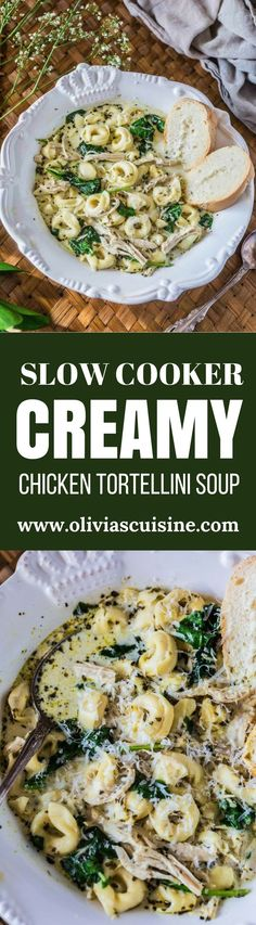 Creamy Chicken Tortellini Soup | http://www.oliviascuisine.com | You won't believe how easy this Creamy Chicken Tortellini Soup is! Hearty, comforting and made in the slow cooker. It really doesn't get easier than that! (Sponsored by Barilla®) #BarillaPesto #BJsWholesale #BarillaTortellini @BarillaUS