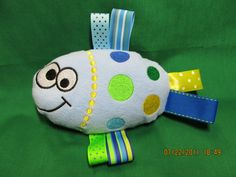 Fish Ribbon Taggie Toy Blue - Excellent for teething babies. $10.00, via Etsy.