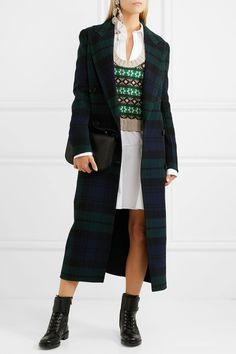 BURBERRY Double-breasted tartan navy and dark-green wool and cashmere-blend coat