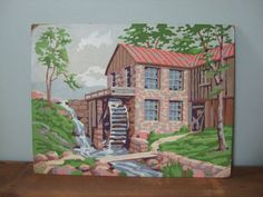 Vintage Mill with Water Wheel Paint by Number Scene by jessamyjay