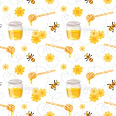 Buy Bee and Honey Pattern by Skathi on GraphicRiver. Vector cartoon style seamless pattern with flying bees, honey jars and flowers. Sunset Color Palette, Sunset Colors, Cellphone Wallpaper, Iphone Wallpaper, Honey Jars, Bee Honeycomb, I Love Bees, Bee Embroidery, Bee Theme