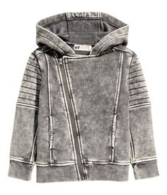 Gray washed out. Jacket in hard-washed sweatshirt fabric with a hood, diagonal…