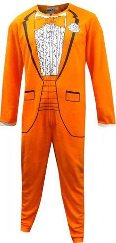 c0723724c2f6 1970 s Orange Tuxedo One Piece Pajama