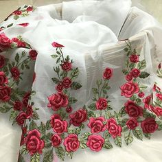 romantic french embroidery sweet red rose organza lace 1/2 yard for wedding bride stage doll diy dr