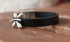 Black leather bracelet with small silver color by BeGenuine