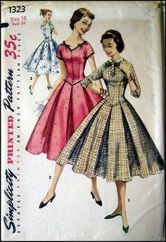 Vintage 1955-TWIRL DRESS-Sewing Pattern-Two Styles-Shaped Bodice-Kimono…