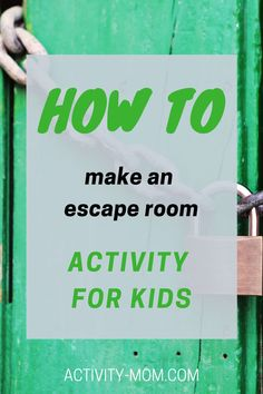 Make your own escape room for kids. Set up clues to make an escape room for a kids party or a play date.   #escaperoom #kids #kidsescaperoom #kidsactivities Indoor Activities For Kids, Kids Learning Activities, Sensory Activities, Fun Learning, Escape Room For Kids, School Library Lessons, Escape Room Challenge, Train Up A Child, Activity Board