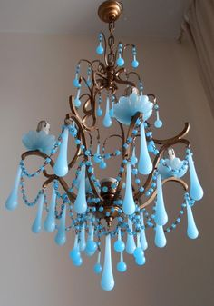 Authentic vintage Italian brass gilded aqua blue opaline birdcage crystal chandelier, Murano glass crystals, Macaroni beads