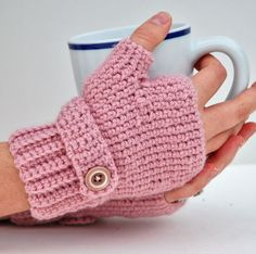 Seamless fingerless-gloves ~ crochet pattern available via Ravelry
