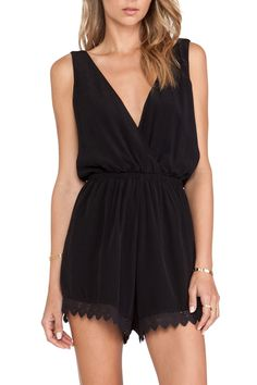 Zaful: Plunging Neck Lace Spliced Playsuit