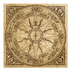 Square Sticker x Old Compass Rose 4 Square Sticker x by MissThree - CafePress Vintage Compass, Vintage Maps, Antique Maps, My Compass, Wind Rose, Mariners Compass, Marquesan Tattoos, Antiques, Prints