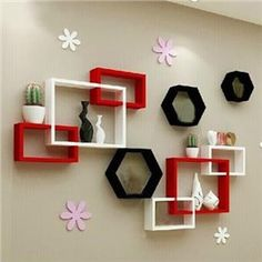 Classy and fashion Wall Shelves online shopping site Wall Shelving Units, Wall Shelves Design, Wall Shelf Decor, Wood Wall Shelf, Diy Wall, Wall Showcase Design, Living Room Tv Unit Designs, Bedroom Decor For Couples, Cupboard Design
