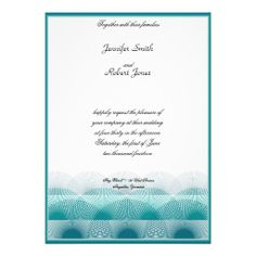 This beautiful and elegant design has a bright white background. At the bottom there is a graduating set of scalloped layers in turquoise aqua blue. The scallops are modern but remind you of waves. These would be perfect for a more casual event or one by the water. #wedding #invitation