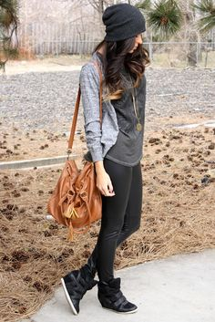 Leather Skinnies and Layered Knit.
