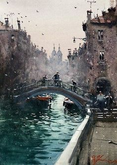 """Joseph Zubukvic """"Fog on the Venetian Canal"""" 14x10, Watercolor on Paper - at Principle Gallery. #beautiful #art #draw #digitalart #gallery #illustration #paint #drawing #abstract #color #popart #watercolor #artworks #galleryart #graphicart Watercolor City, Watercolor Landscape Paintings, Watercolor Artists, Landscape Art, Landscape Photography, Joseph Zbukvic, Venice Painting, Watercolor Architecture, Urban Sketching"""