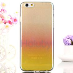 Blue-ray Gradient Color Glitter Powder Translucence TPU Case for iPhone 6 Plus/ 6S Plus - Yellow