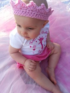 Crochet Crown/Tiara for Babies  For First Birthday