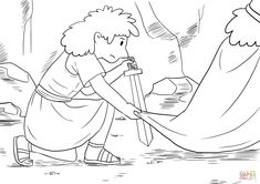 David Crept up Unnoticed and Cut off a Corner of Saul's Robe coloring page | Free Printable Coloring Pages