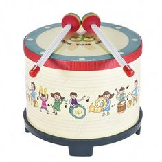 8 Inch Wooden Floor Drum Gathering Club Carnival Percussion Instrument with 2 Mallets for Kids Children