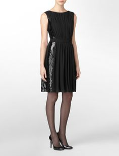side-sequin chiffon dress - Holiday Dressing- Calvin Klein