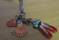 Just updated Silvertone Keyring with enamel charms butterfly,tutu,red dancing shoes £0.59