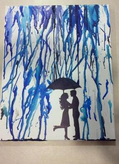 Crayon art. Popping the foot... Kissing in the rain...