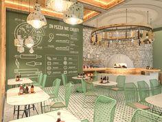 Italian_pizzeria_restaurant_interior_design – Interiors by ONTO - Coffee Shop Interior Design, Italian Interior Design, Coffee Shop Design, Restaurant Interior Design, Commercial Interior Design, Cafe Design, Modern Restaurant, Design Design, Restaurant Interiors