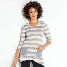 """Smart and casual, this knit off-white and gray stripe tunic with two gray solid pockets falls just below the hips. Features a scoop neck, ¾ sleeves and a fishtail hem.<br><br>• 56% Cotton, 44% Polyester<br>• Length from center back: 28"""" (medium); 30 ½"""" (2X)<br>• Wash before wearing. Machine wash cold, gentle cycle with similiar colors. Do not use chlorine bleach, only non-chlorine bleach if needed. Tumble dry low, remove promptly; cool iron as needed.<br>• Imported"""